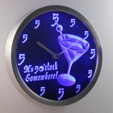 Martini Glass It's 5 o'clock Somewhere LED Neon Wall Clock - Blue - SafeSpecial
