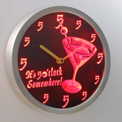 Martini Glass It's 5 o'clock Somewhere LED Neon Wall Clock - Red - SafeSpecial