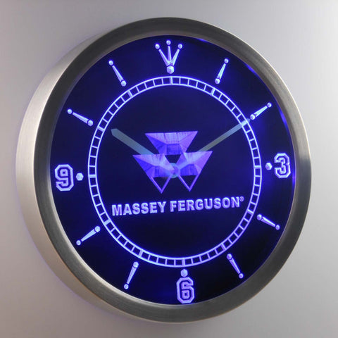 Image of Massey Ferguson LED Neon Wall Clock - Blue - SafeSpecial