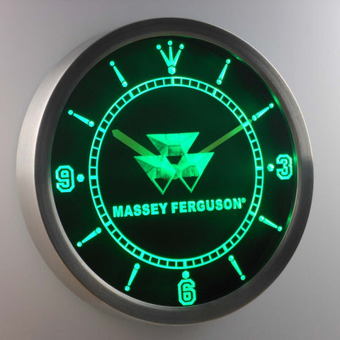 Image of Massey Ferguson LED Neon Wall Clock - Green - SafeSpecial