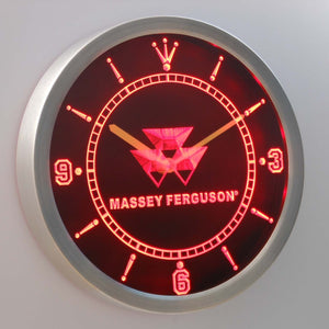 Massey Ferguson LED Neon Wall Clock - Red - SafeSpecial