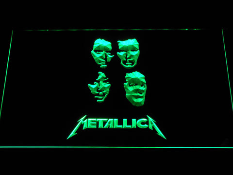 Image of Metallica Faces LED Neon Sign - Green - SafeSpecial