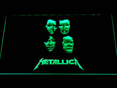 Metallica Faces LED Neon Sign - Green - SafeSpecial