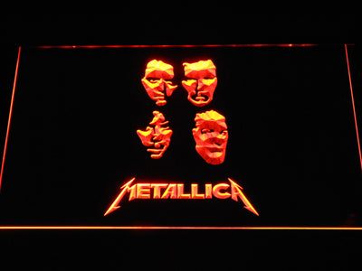 Metallica Faces LED Neon Sign - Orange - SafeSpecial