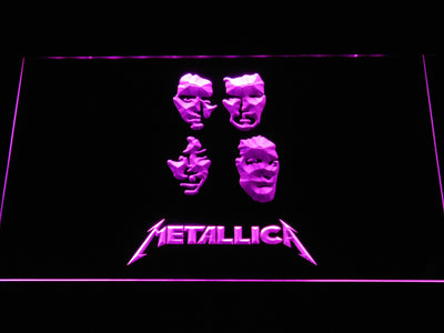 Metallica Faces LED Neon Sign - Purple - SafeSpecial
