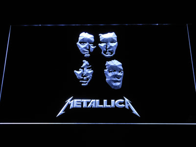 Metallica Faces LED Neon Sign - White - SafeSpecial