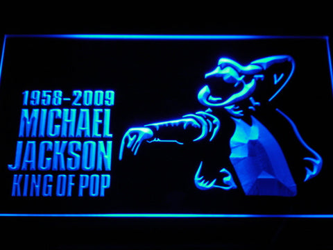 Michael Jackson King of Pop LED Neon Sign - Blue - SafeSpecial