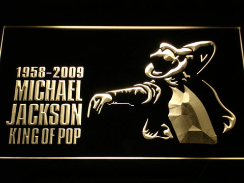 Michael Jackson King of Pop LED Neon Sign - Yellow - SafeSpecial