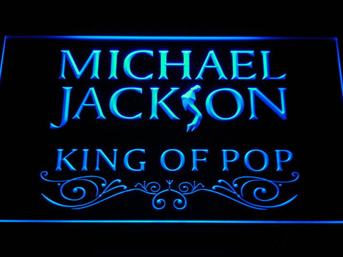 Image of Michael Jackson King of Pop Text LED Neon Sign - Blue - SafeSpecial