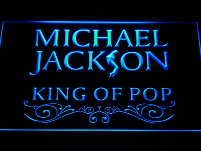 Michael Jackson King of Pop Text LED Neon Sign - Blue - SafeSpecial