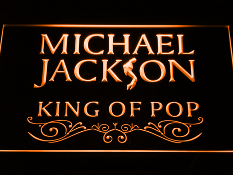 Image of Michael Jackson King of Pop Text LED Neon Sign - Orange - SafeSpecial