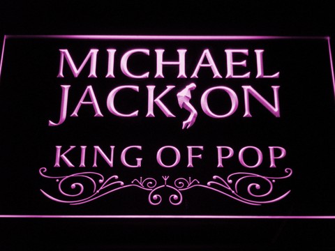 Image of Michael Jackson King of Pop Text LED Neon Sign - Purple - SafeSpecial
