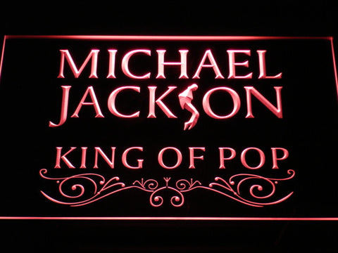Image of Michael Jackson King of Pop Text LED Neon Sign - Red - SafeSpecial