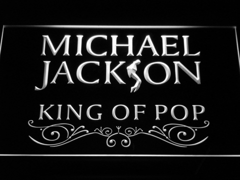 Image of Michael Jackson King of Pop Text LED Neon Sign - White - SafeSpecial