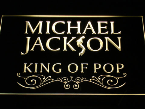 Image of Michael Jackson King of Pop Text LED Neon Sign - Yellow - SafeSpecial