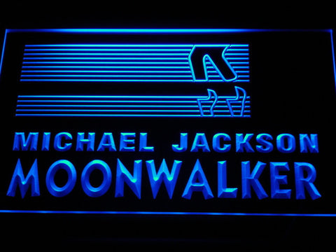 Image of Michael Jackson Moonwalker Bars LED Neon Sign - Blue - SafeSpecial