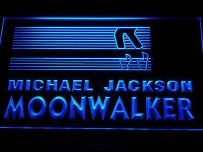 Michael Jackson Moonwalker Bars LED Neon Sign - Blue - SafeSpecial