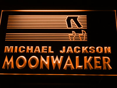 Michael Jackson Moonwalker Bars LED Neon Sign - Orange - SafeSpecial