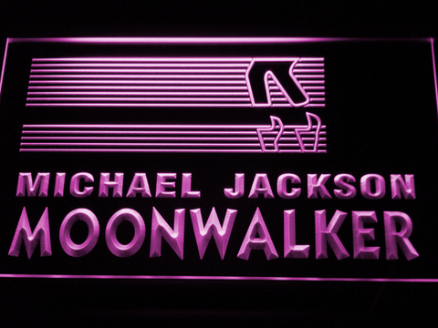 Image of Michael Jackson Moonwalker Bars LED Neon Sign - Purple - SafeSpecial