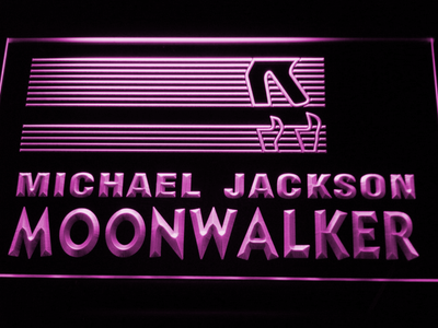 Michael Jackson Moonwalker Bars LED Neon Sign - Purple - SafeSpecial