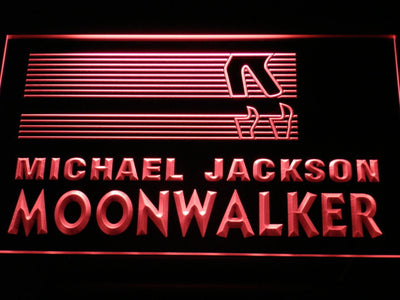 Michael Jackson Moonwalker Bars LED Neon Sign - Red - SafeSpecial