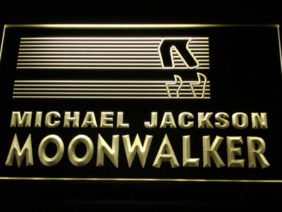 Michael Jackson Moonwalker Bars LED Neon Sign - Yellow - SafeSpecial