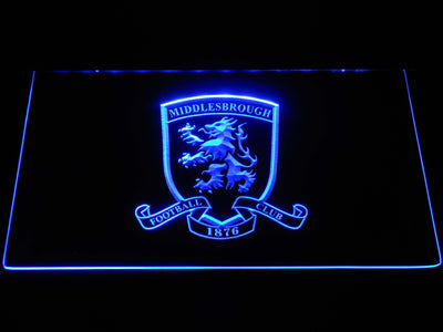 Middlesbrough Football Club Crest LED Neon Sign - Blue - SafeSpecial