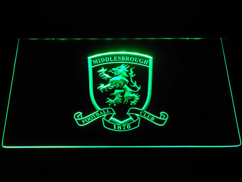 Image of Middlesbrough Football Club Crest LED Neon Sign - Green - SafeSpecial