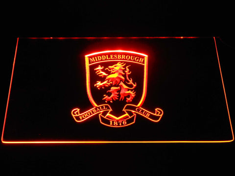Image of Middlesbrough Football Club Crest LED Neon Sign - Orange - SafeSpecial