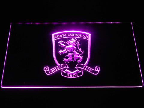 Image of Middlesbrough Football Club Crest LED Neon Sign - Purple - SafeSpecial