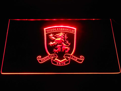 Image of Middlesbrough Football Club Crest LED Neon Sign - Red - SafeSpecial