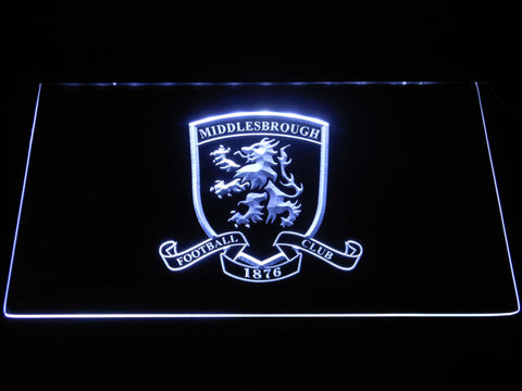 Image of Middlesbrough Football Club Crest LED Neon Sign - White - SafeSpecial