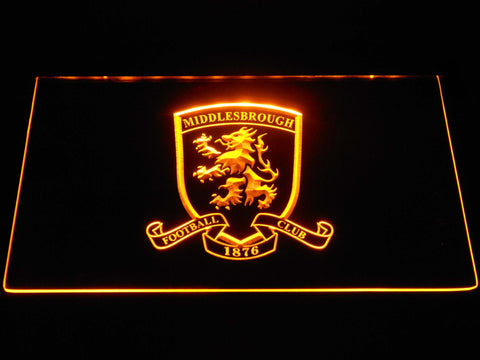Image of Middlesbrough Football Club Crest LED Neon Sign - Yellow - SafeSpecial