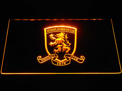 Middlesbrough Football Club Crest LED Neon Sign - Yellow - SafeSpecial