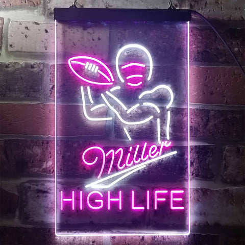 Miller Football 2 Neon-Like LED Sign - Dual Color