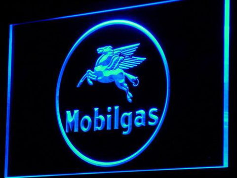 Image of Mobilgas Circle LED Neon Sign - Blue - SafeSpecial