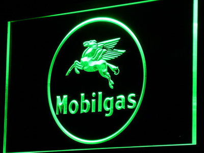 Mobilgas Circle LED Neon Sign - Green - SafeSpecial