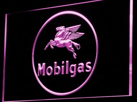 Image of Mobilgas Circle LED Neon Sign - Purple - SafeSpecial