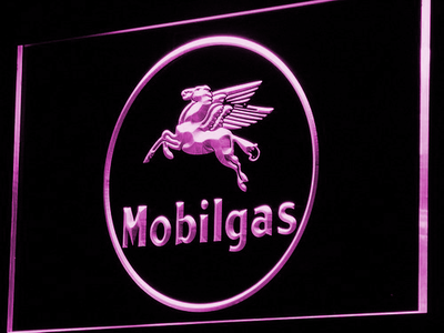 Mobilgas Circle LED Neon Sign - Purple - SafeSpecial