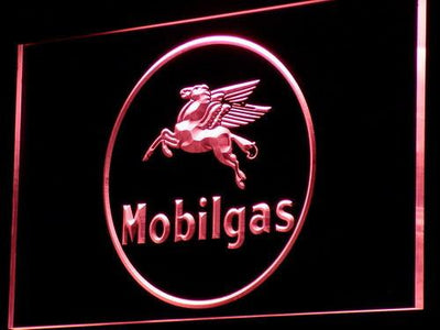 Mobilgas Circle LED Neon Sign - Red - SafeSpecial