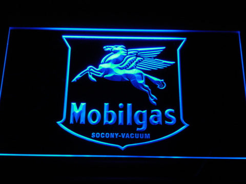 Mobilgas Old Shield Logo LED Neon Sign - Blue - SafeSpecial