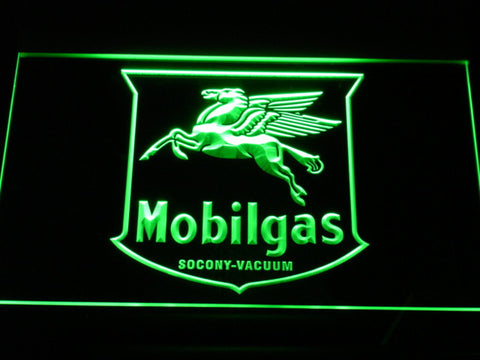 Mobilgas Old Shield Logo LED Neon Sign - Green - SafeSpecial