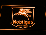Mobilgas Old Shield Logo LED Neon Sign - Orange - SafeSpecial
