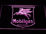 Mobilgas Old Shield Logo LED Neon Sign - Purple - SafeSpecial