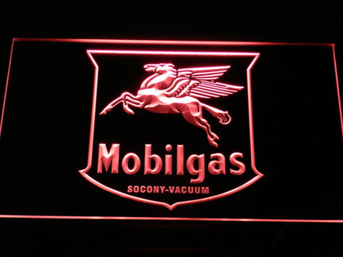Mobilgas Old Shield Logo LED Neon Sign - Red - SafeSpecial