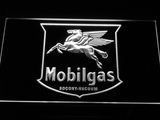 Mobilgas Old Shield Logo LED Neon Sign - White - SafeSpecial