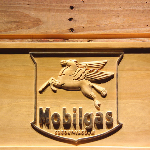 Image of Mobilgas Old Shield Logo Wooden Sign - - SafeSpecial
