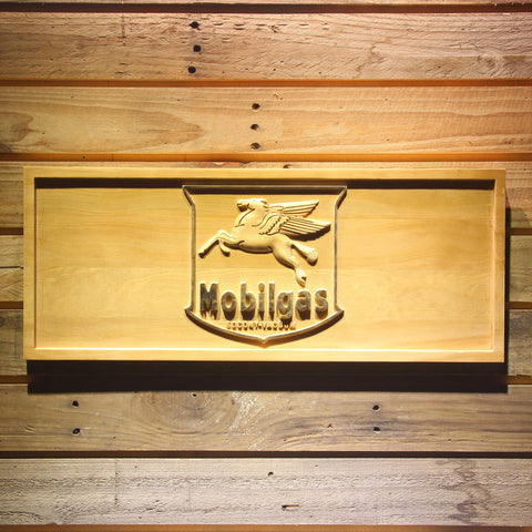 Image of Mobilgas Old Shield Logo Wooden Sign - Small - SafeSpecial
