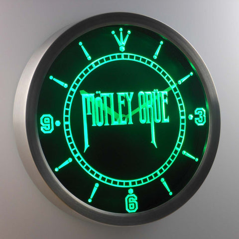 Image of Motley Crue LED Neon Wall Clock - Green - SafeSpecial