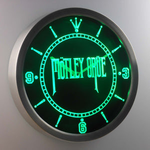 Motley Crue LED Neon Wall Clock - Green - SafeSpecial